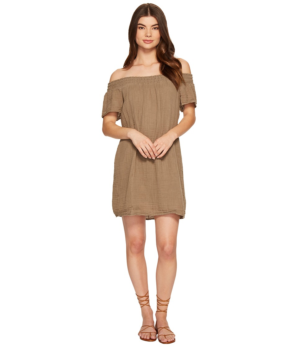 Michael Stars Double Gauze Smocked Off Shoulder Dress (Olive Moss) Women