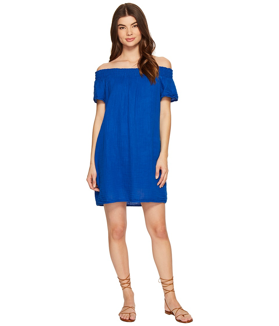 Michael Stars Double Gauze Smocked Off Shoulder Dress (Bayside) Women