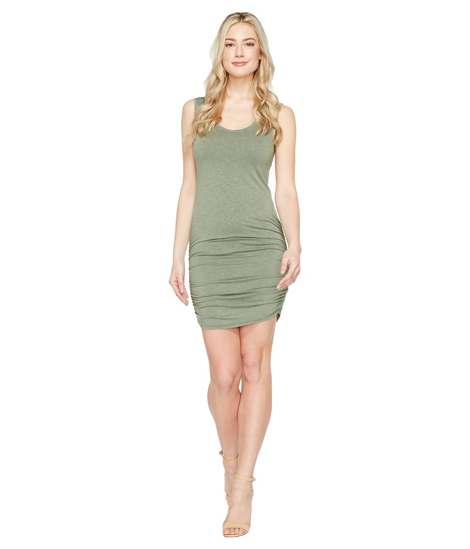 Michael Stars Mavie Slub Jersey Tank Dress w/ Shirring (Olive Moss) Women