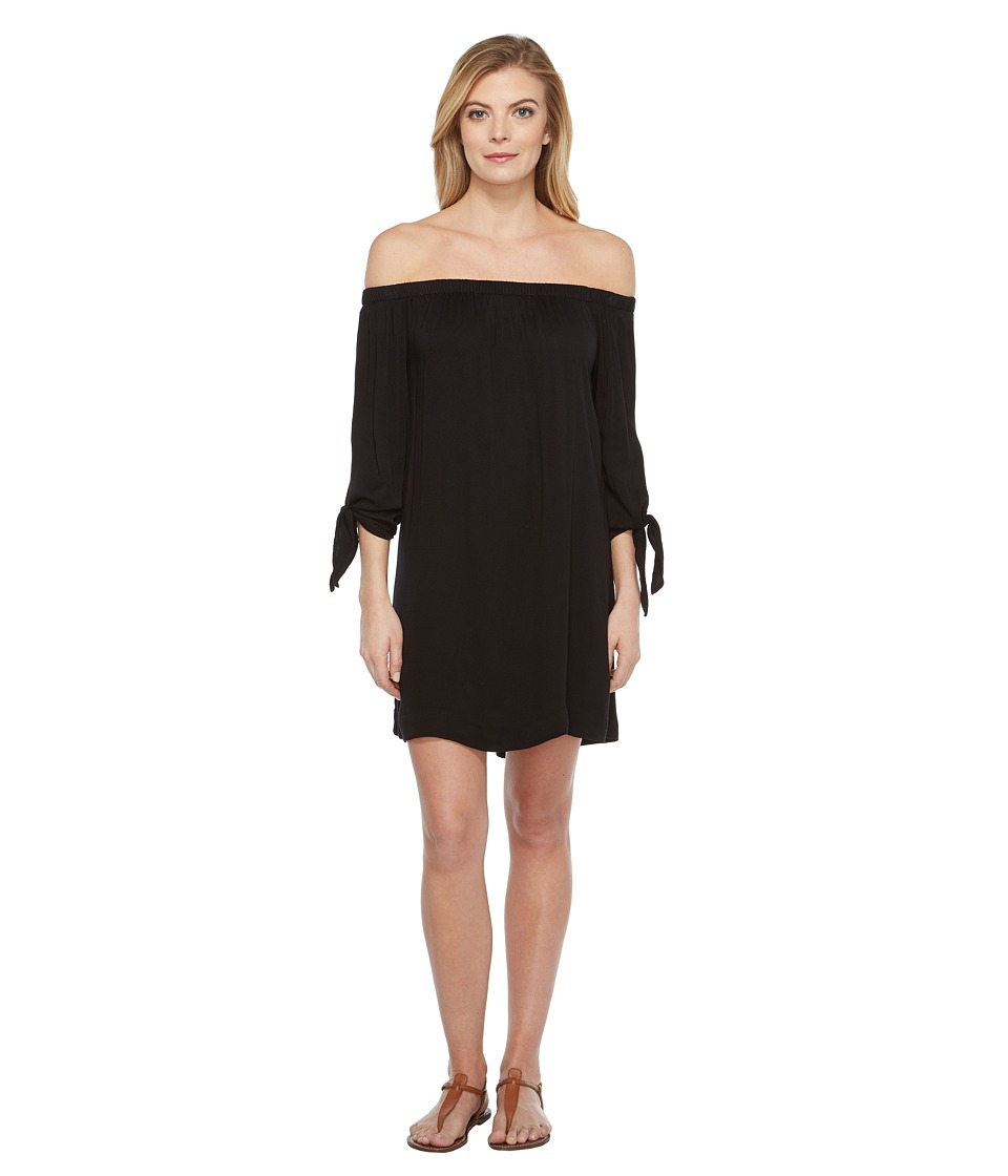 Michael Stars Romy Rayon Off Shoulder Tie Sleeve Dress (Black) Women