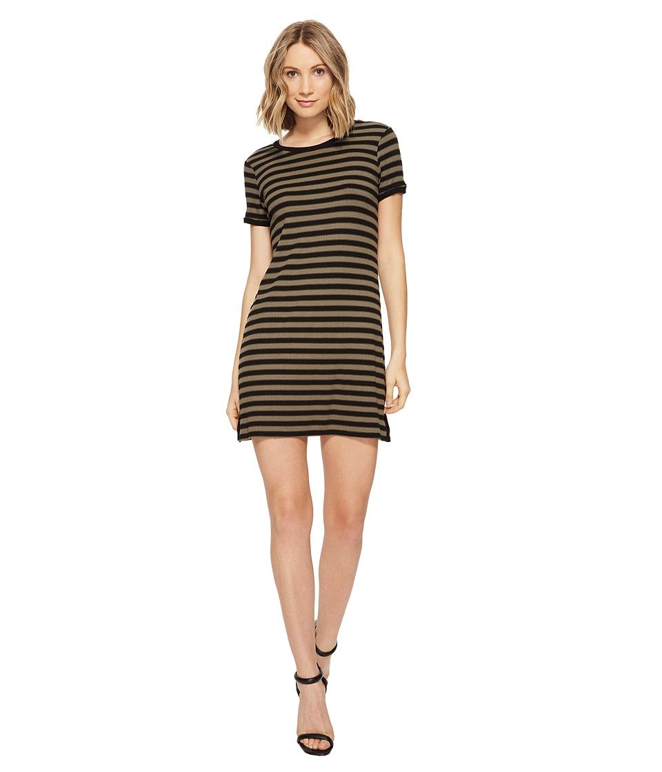 Michael Stars Sophie Stripe Tee Dress (Olive Moss) Women
