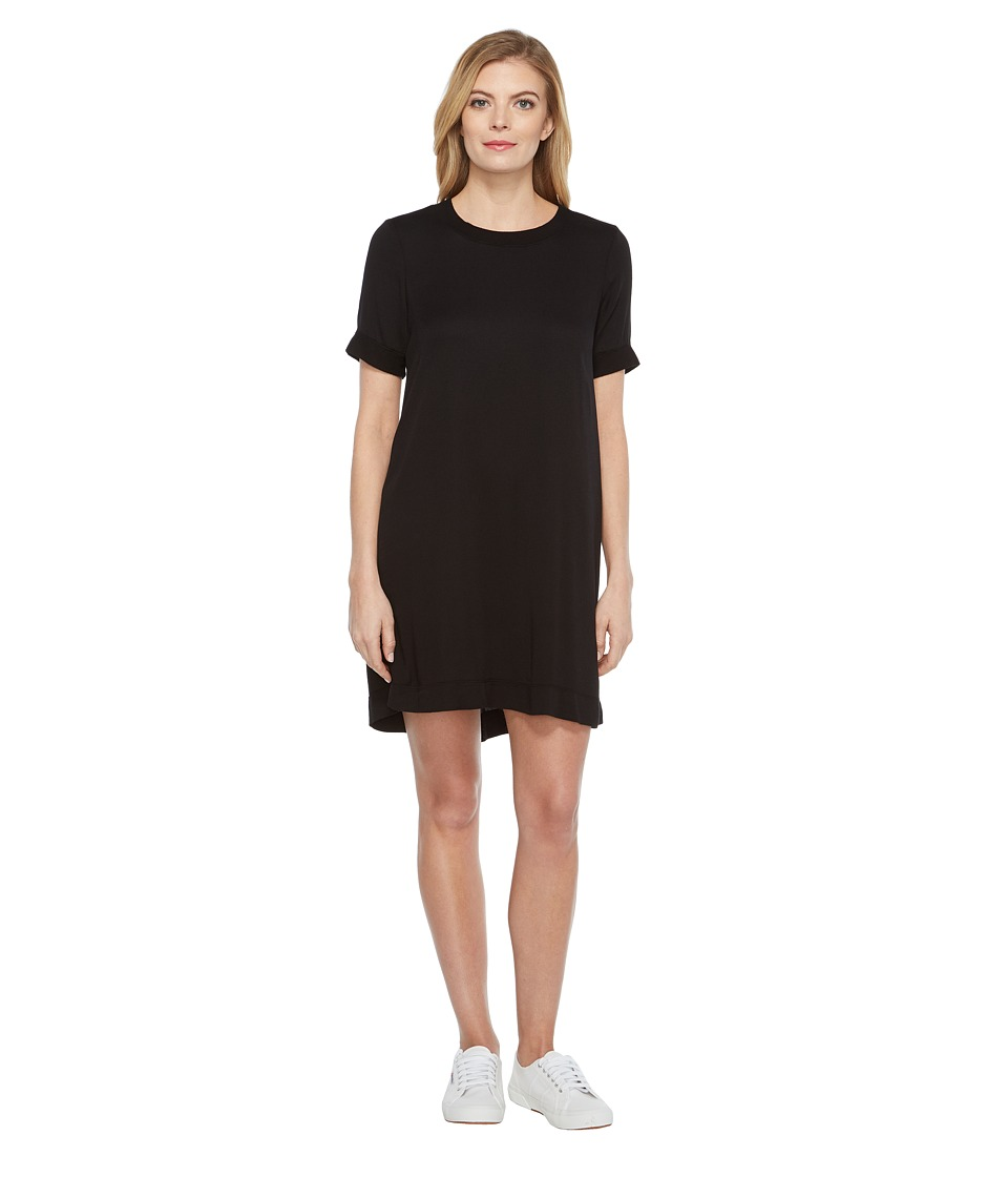 Michael Stars Romy Rayon Rib Neck Tee Dress (Black) Women