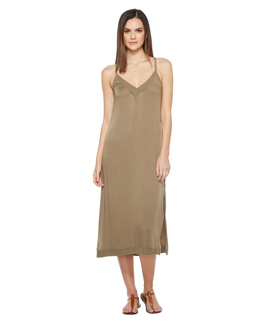 Michael Stars Romy Rayon Slip Dress (Olive Moss) Women