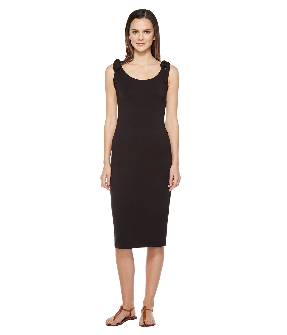 Michael Stars Midi Tank Dress with Tied Straps (Black) Women