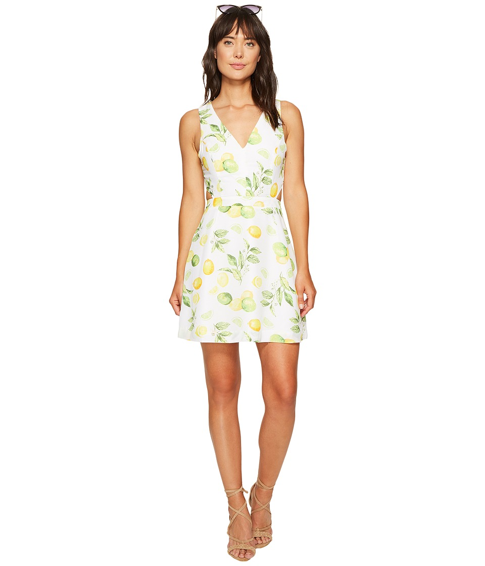 kensie Lemon Tree Dress with Cut Out Back KS6U7019 (Citrus Green Combo) Women