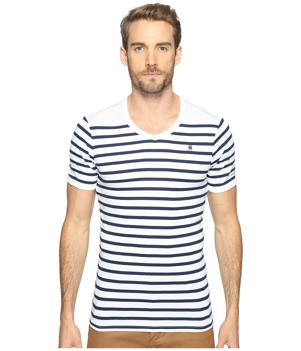 G-Star Short Sleeve Ramic Stripe V-Neck T-Shirt (Breton Stripe Cool Rib) Men