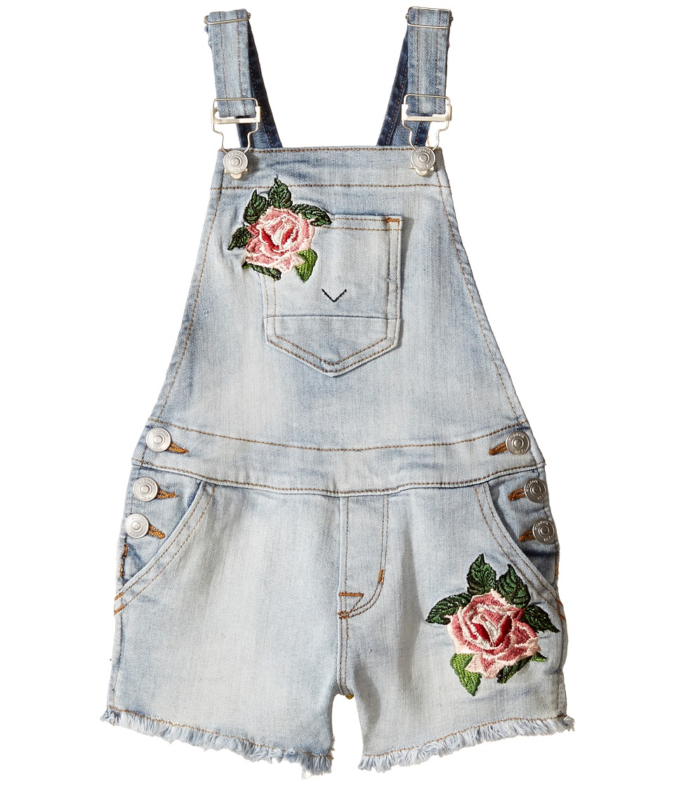 Hudson Kids Hudson Kids - Denim Shortall with Floral Embroidery in Medium Stone Wash