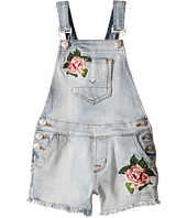 Hudson Kids - Denim Shortall with Floral Embroidery in Medium Stone Wash (Toddler/Little Kids)