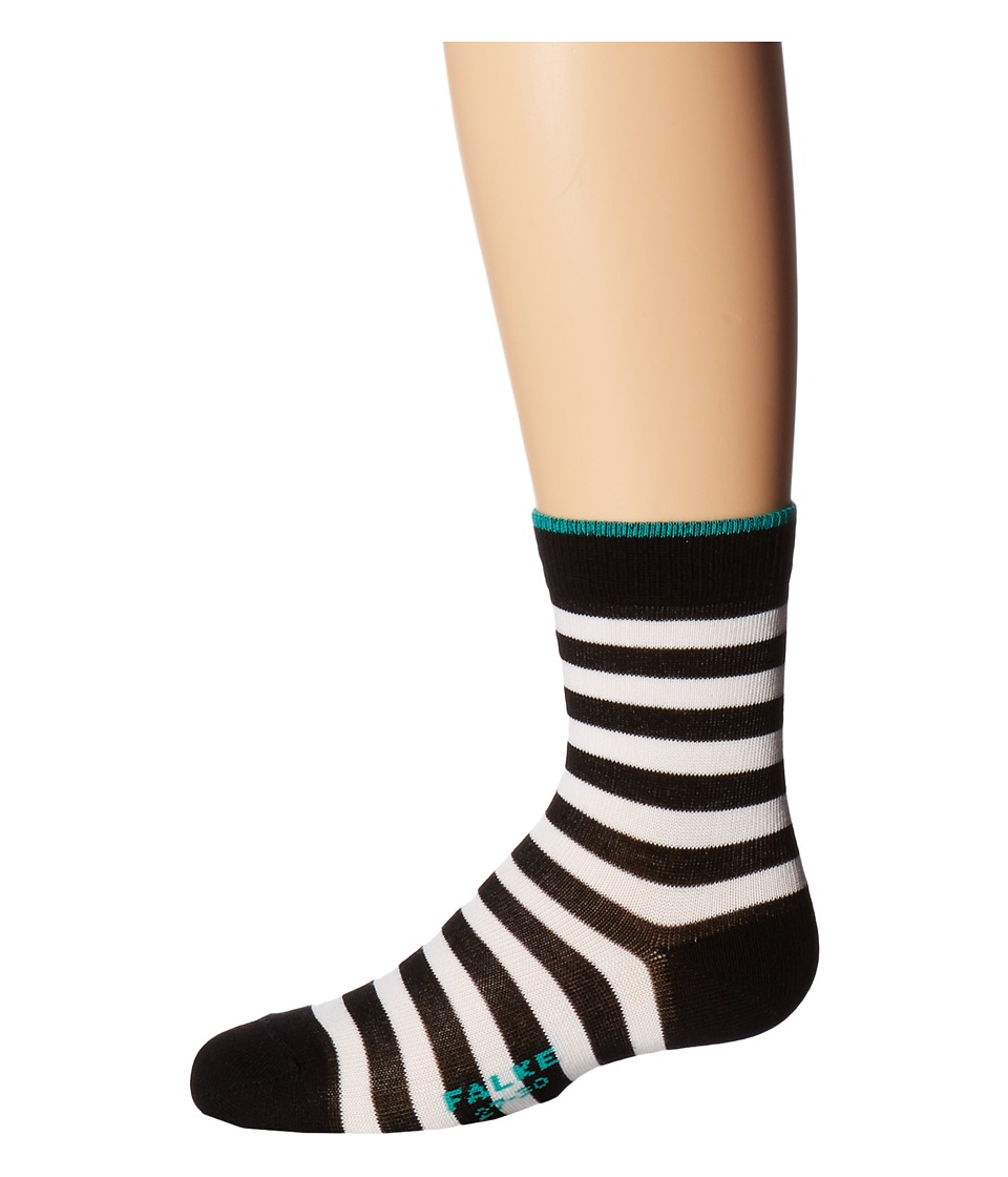 Falke - Double Stripe Socks (Toddler/Little Kid/Big Kid) (Black/Turquoise) Crew Cut Socks Shoes