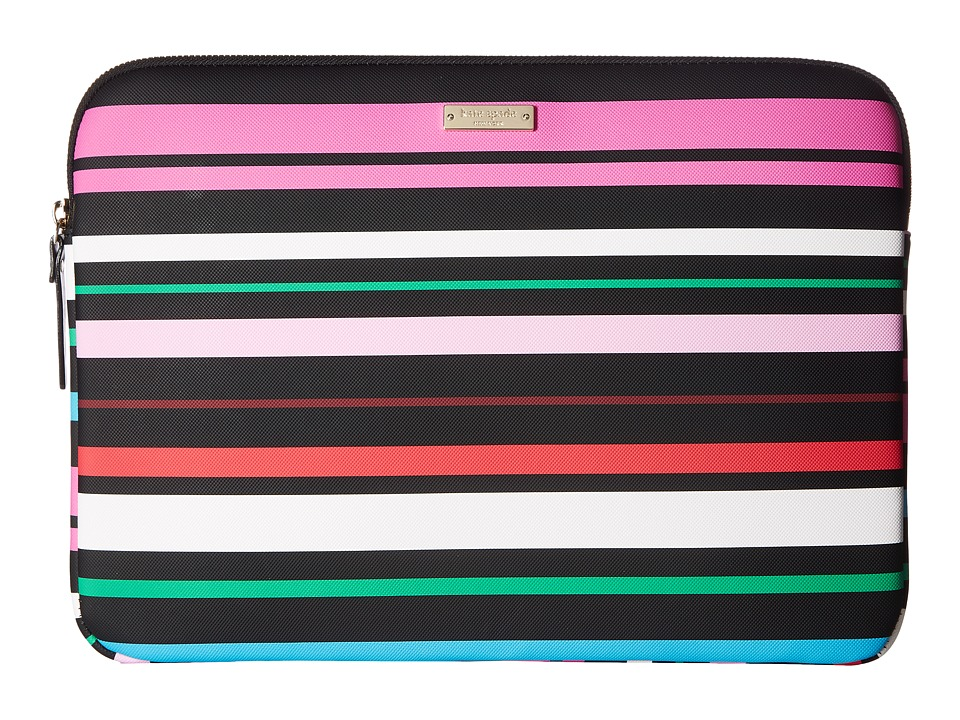 Kate Spade New York 13 Inch Fiesta Stripe Laptop Sleeve Case (Black Multi) Computer Bags