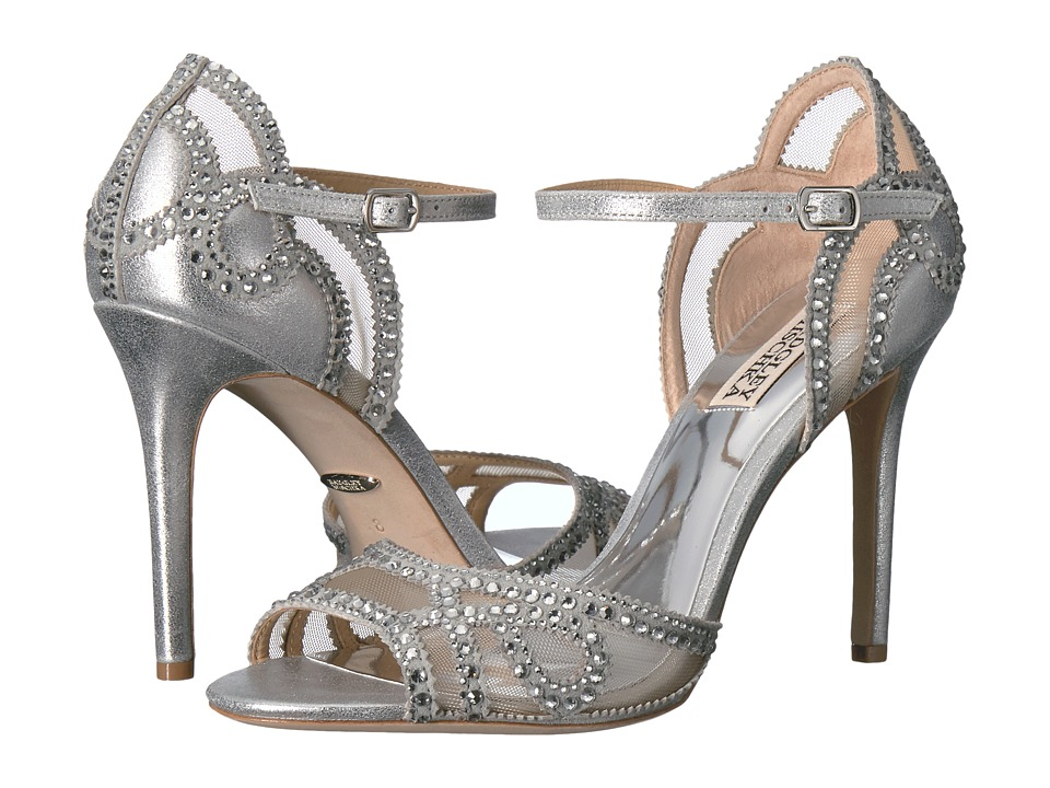 Badgley Mischka Tansy (Silver Metallic Suede) High Heels
