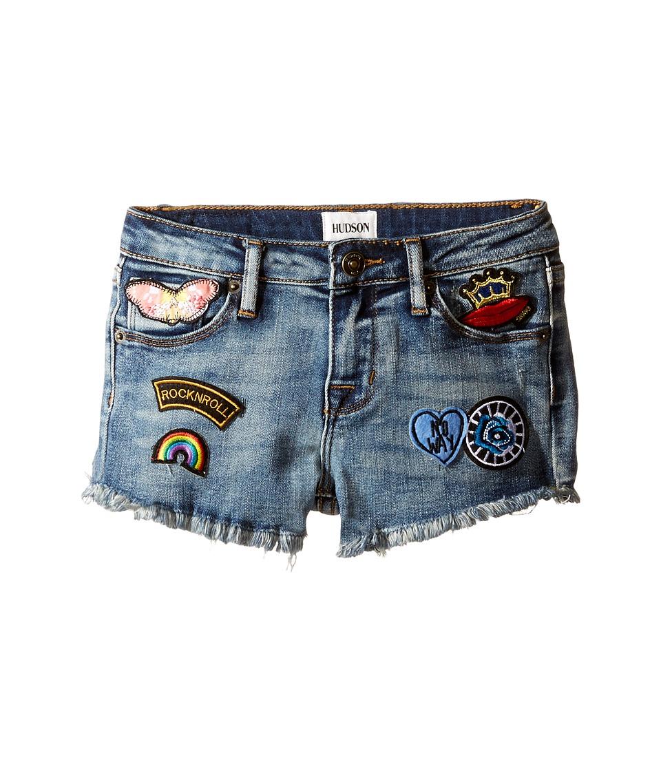 Hudson Kids - 2 1/2 Fray Hem Patched Up Shorts in Ryder