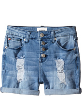 Hudson Kids - Double Roll Cuff High Waisted Destructed Shorts in Twilight (Big Kids)
