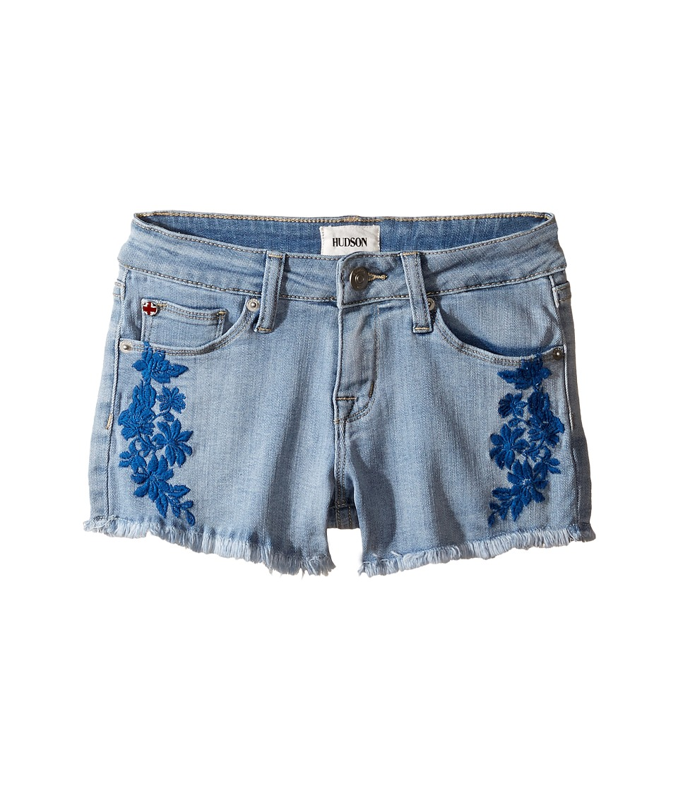 Hudson Kids - 2 1/2 Fray Hem Shorts with Embroidery in Light Blue