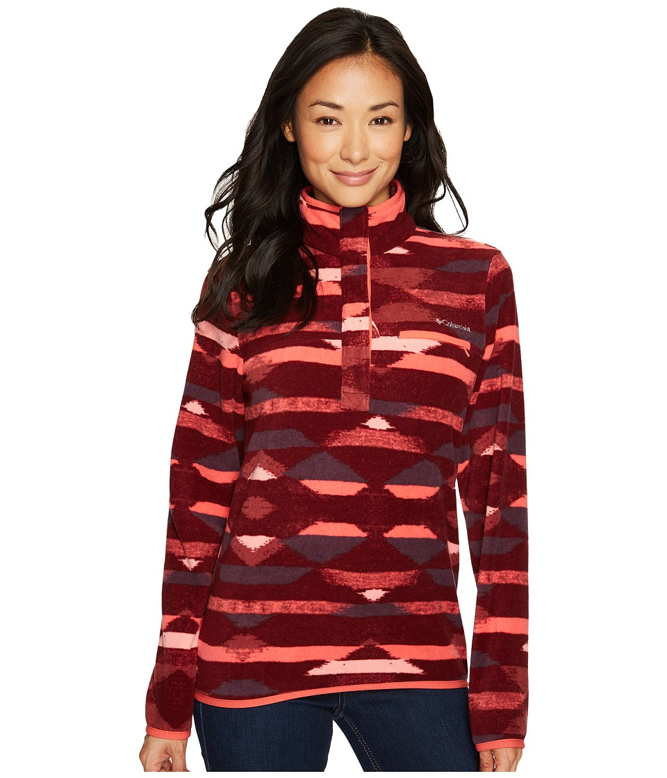 Columbia - Mountain Side Printed Pullover (Bloodstone Southwest Print/Red Coral) Womens Long Sleeve Pullover