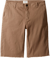 Hudson Kids - Beach Daze Raw Hem Sateen Chino Shorts in Dark Chino (Big Kids)
