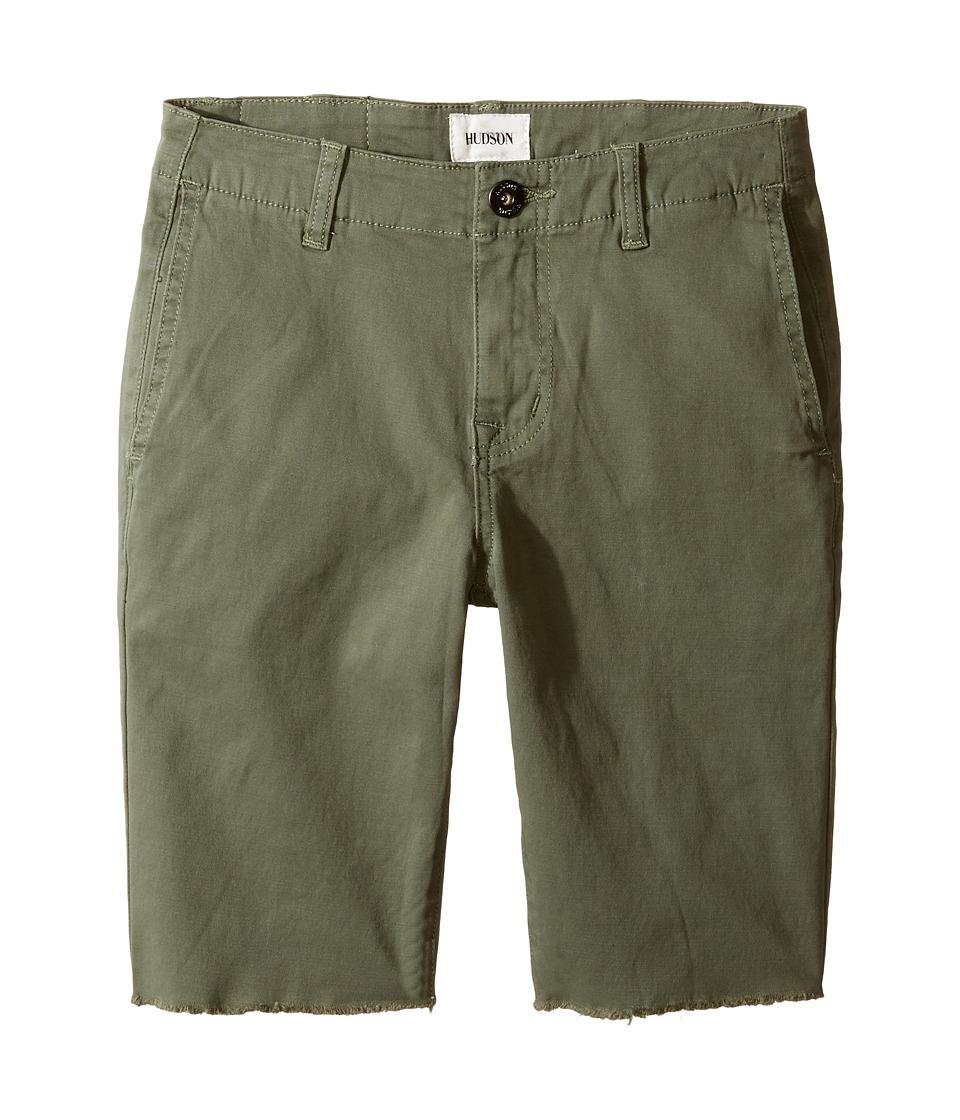 Hudson Kids - Beach Daze Raw Hem Sateen Chino Shorts in Green Ash