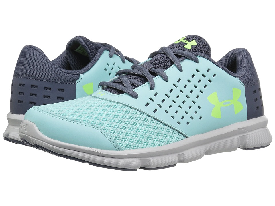 Under Armour Kids UA Micro Rave Run (Little Kid) (Blue Infinity/Apollo Grey/Quirky Lime) Girls Shoes