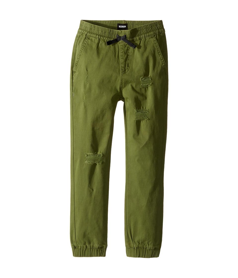 Hudson Kids - Destructed Twill Slim Jogger in Olive Green