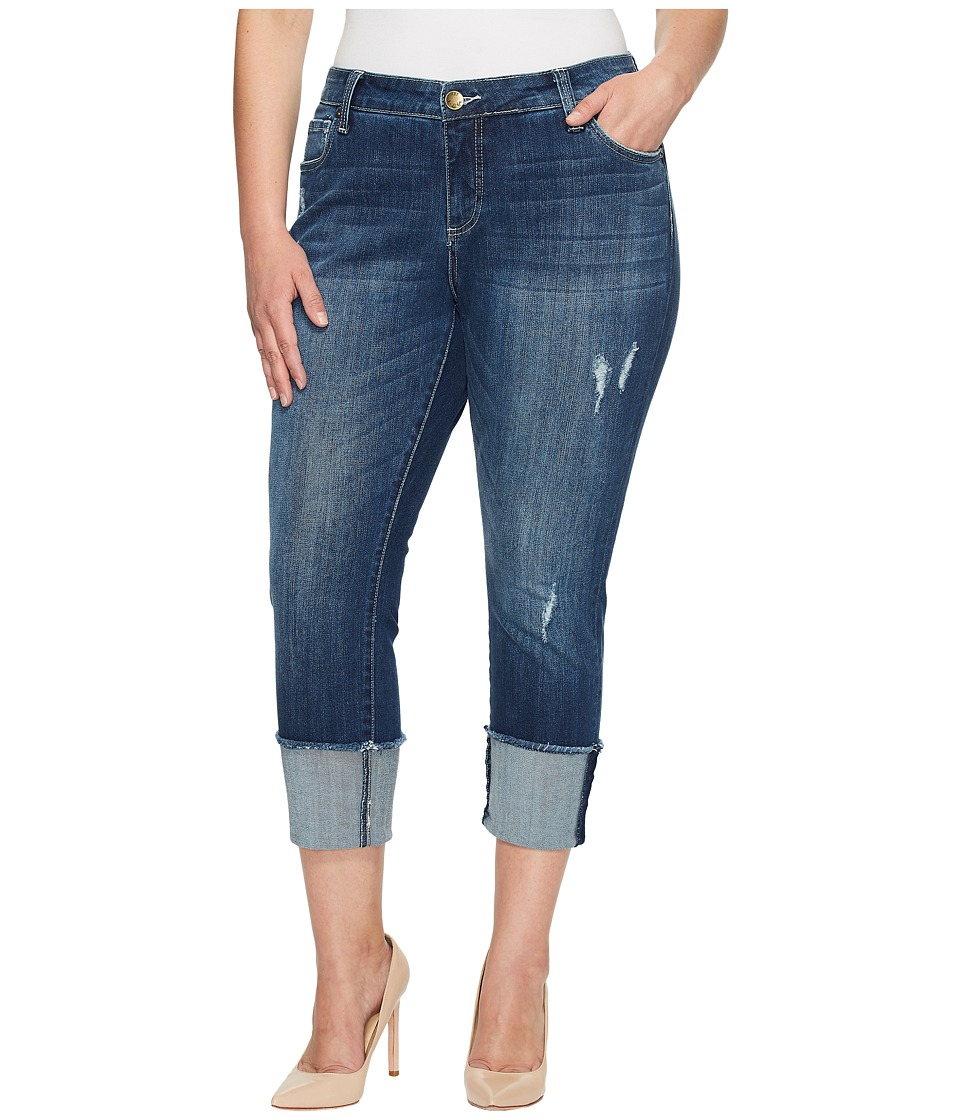 KUT from the Kloth Plus Size Cameron Straight Leg in Arresting/Dark Stone Base Wash (Arresting/Dark Stone Base Wash) Women