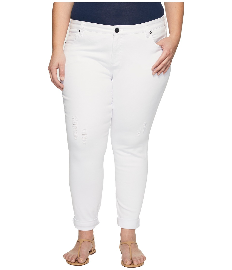 KUT from the Kloth Plus Size Catherine Boyfriend Wide Cuff in Optic White (Optic White) Women