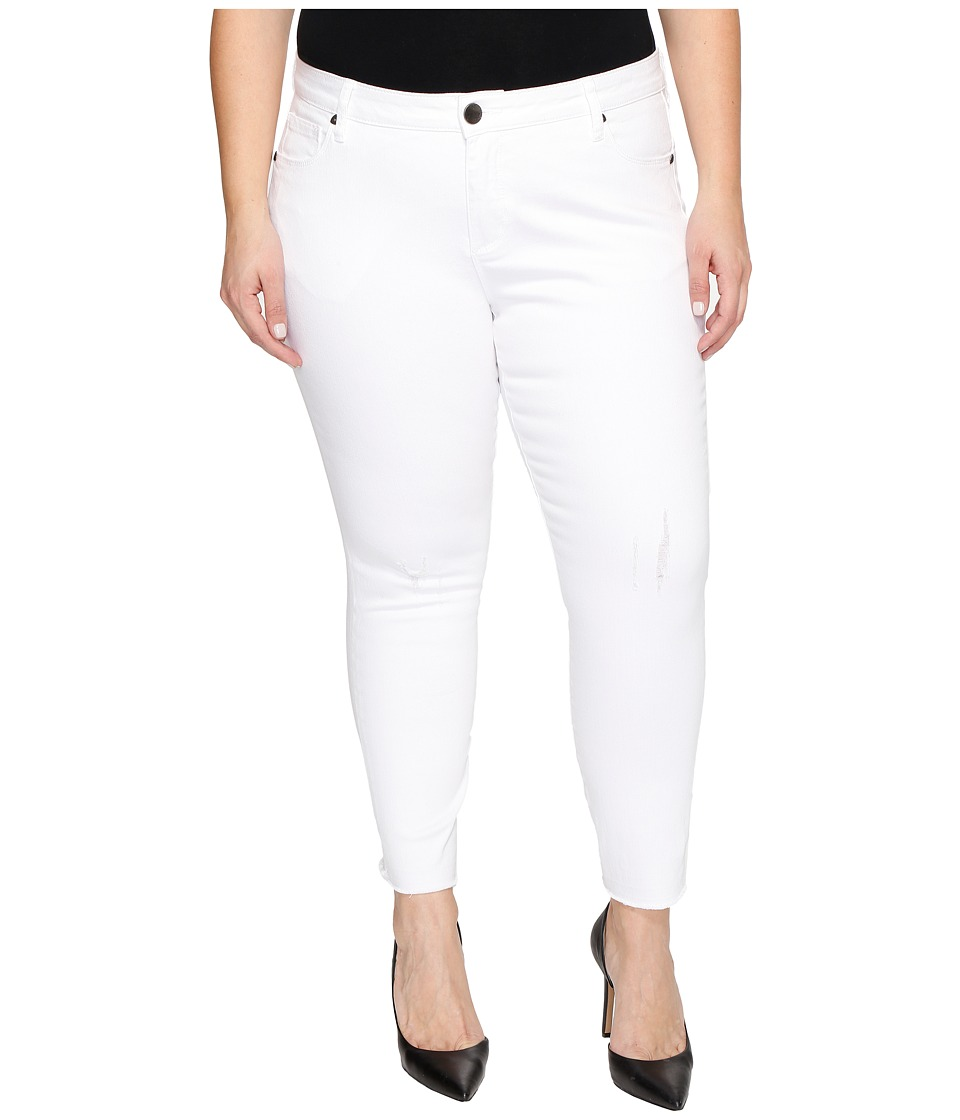 KUT from the Kloth Plus Size Reese Ankle Straight Leg in Optic White (Optic White) Women