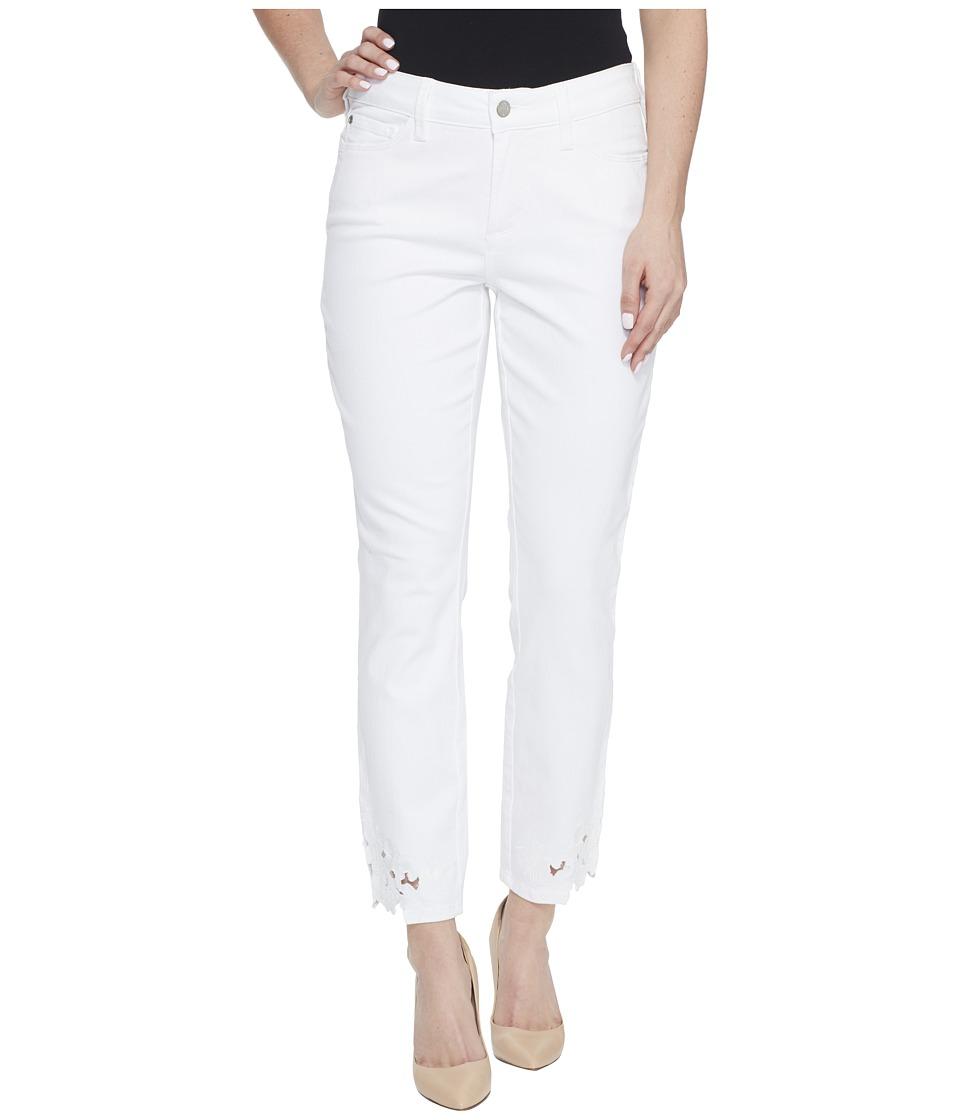 NYDJ Alina Ankle w/ Applique in Optic White (Optic White) Women