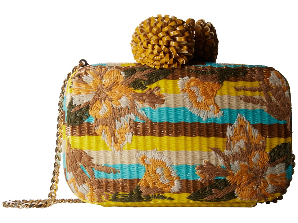 Sam Edelman Milly Straw Minaudiere (Sunset Yellow Multi) Cosmetic Case