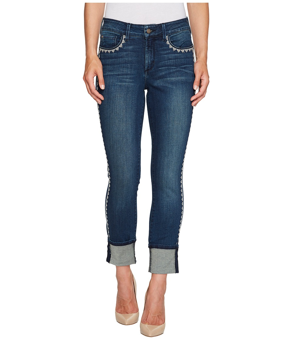 NYDJ - Alina Wide Cuff Ankle w/ Embroidery in Oak Hill (Oak Hill) Womens Jeans