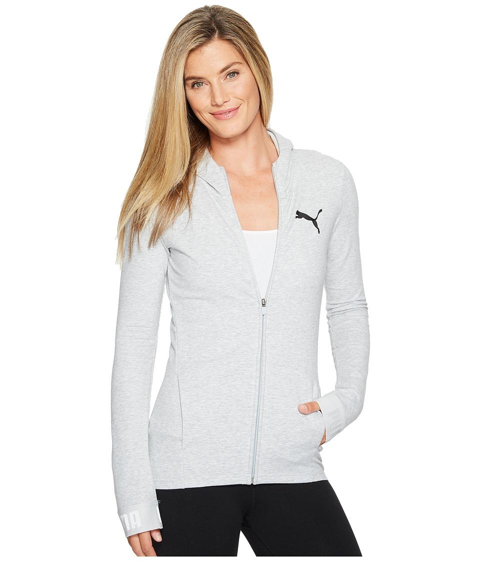 PUMA Urban Sports Full Zip Hoodie (Light Gray Heather) Women