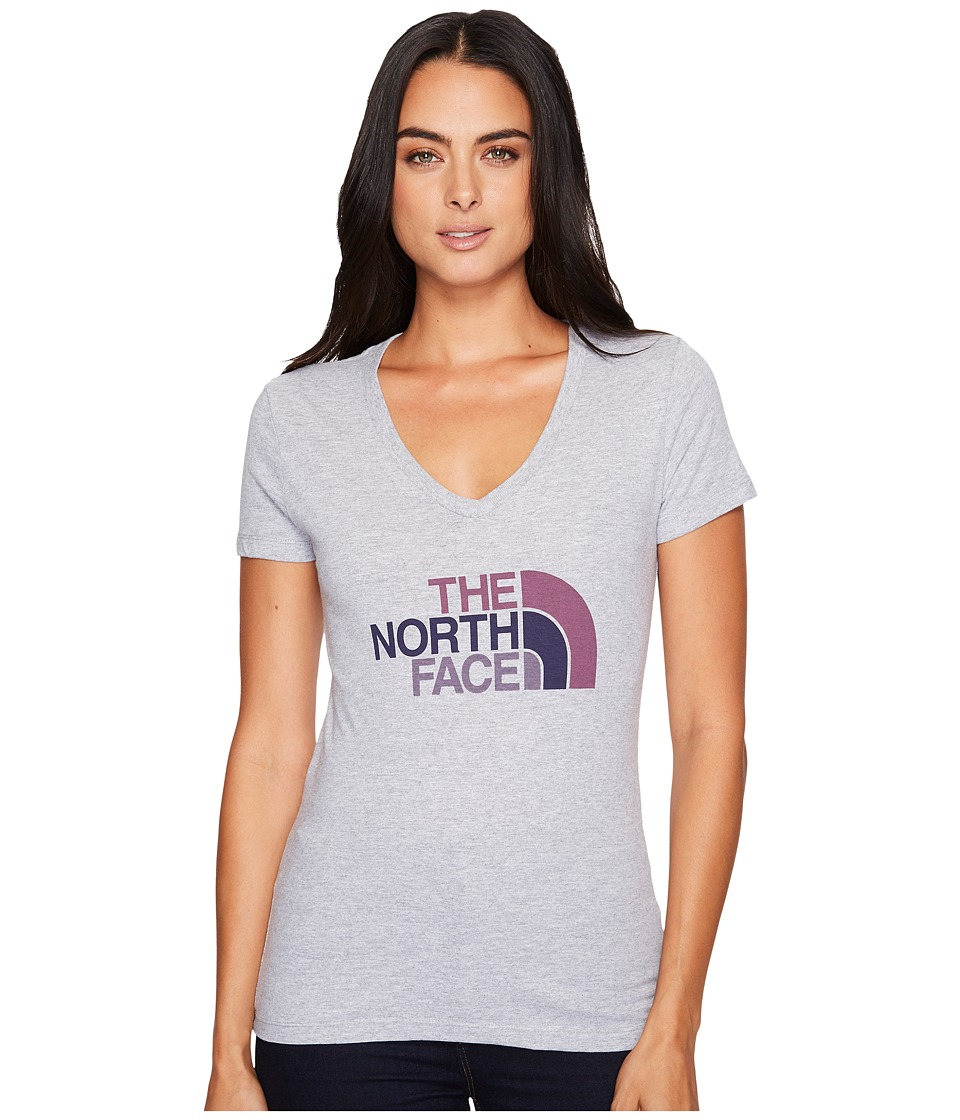 The North Face - Short Sleeve Half Dome V-Neck Tee (TNF Light Grey Heather/Amaranth Purple Multi) Womens T Shirt