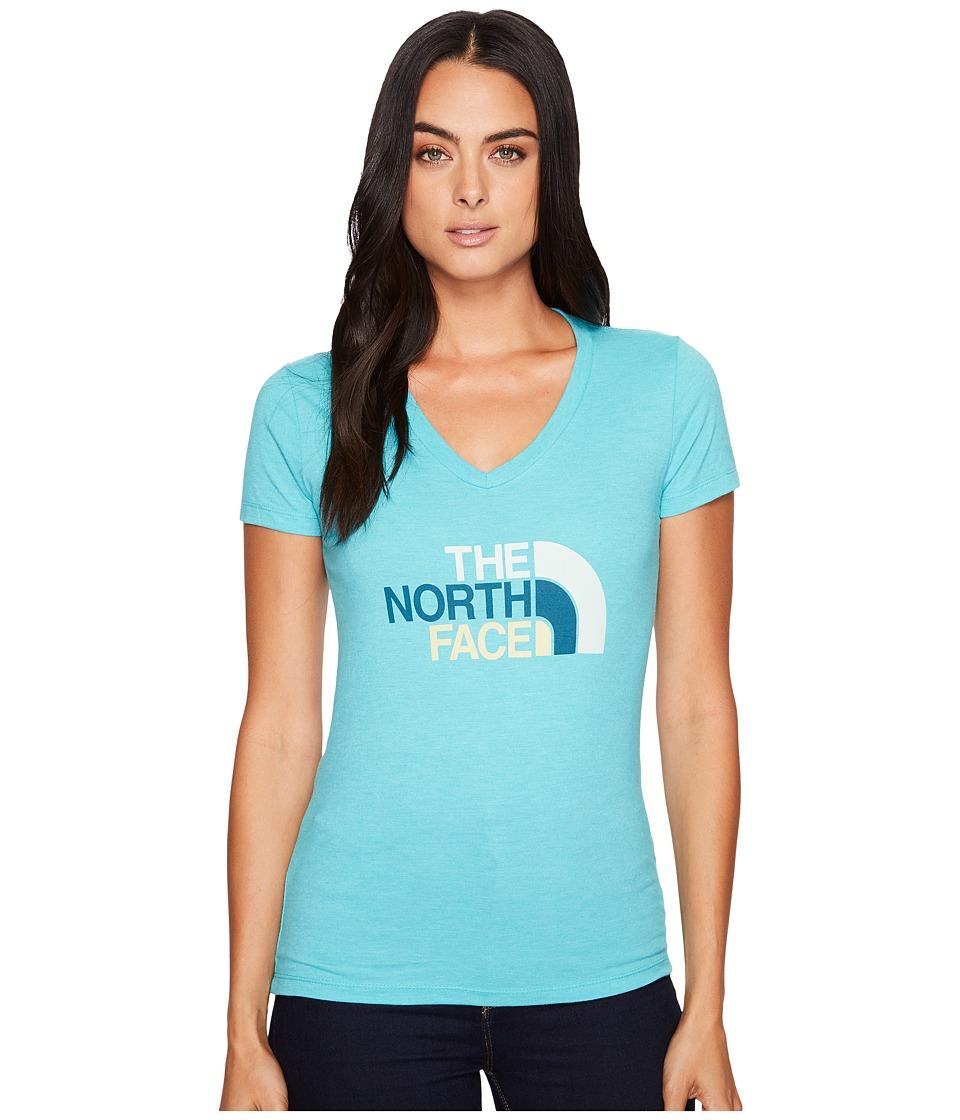 The North Face Short Sleeve Half Dome V-Neck Tee (Vistula Blue Heather/Subtle Green Multi) Women