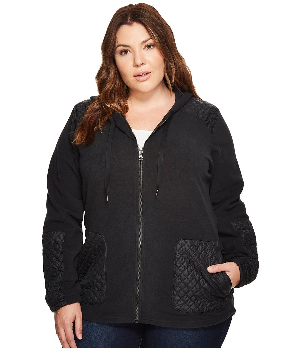 Columbia Plus Size Warm Up Hooded Fleece Full Zip (Black) Women