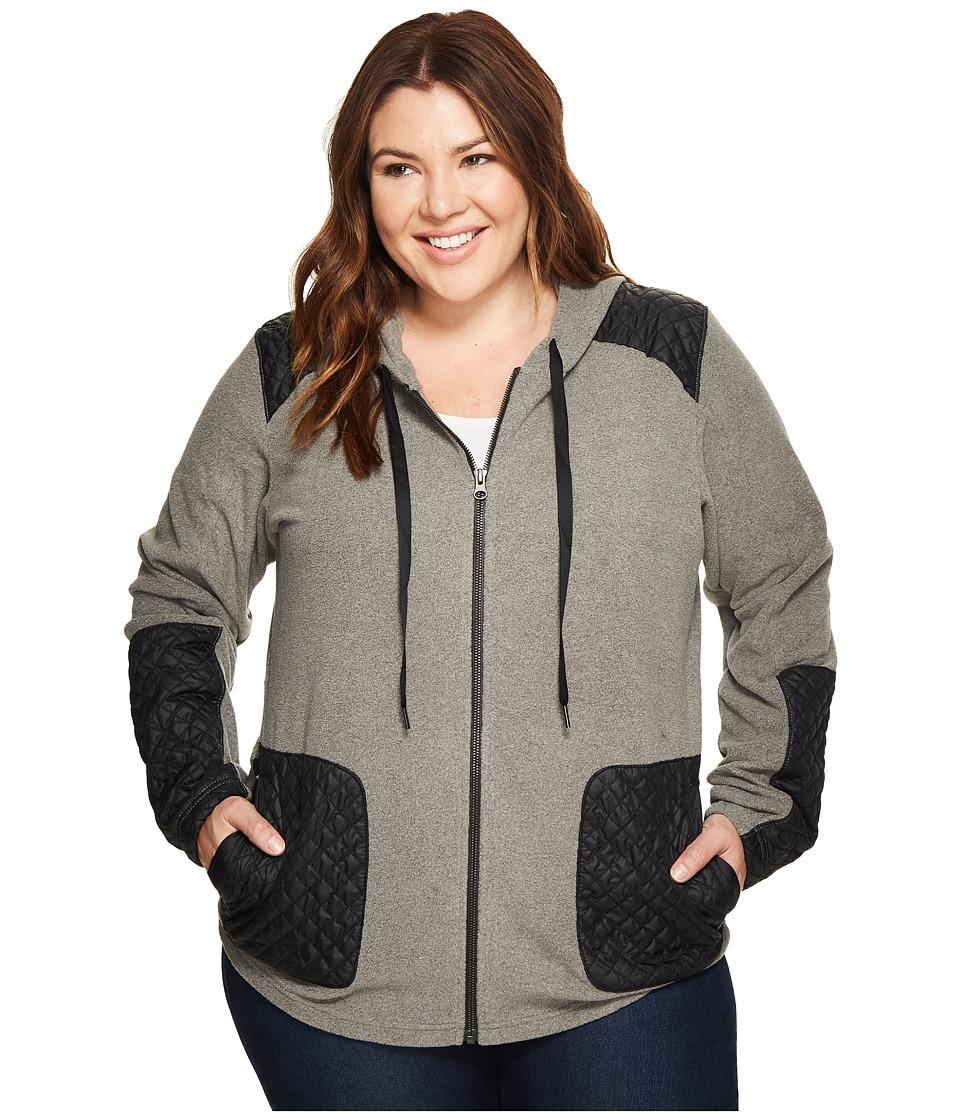 Columbia Plus Size Warm Up Hooded Fleece Full Zip (Charcoal Heather) Women