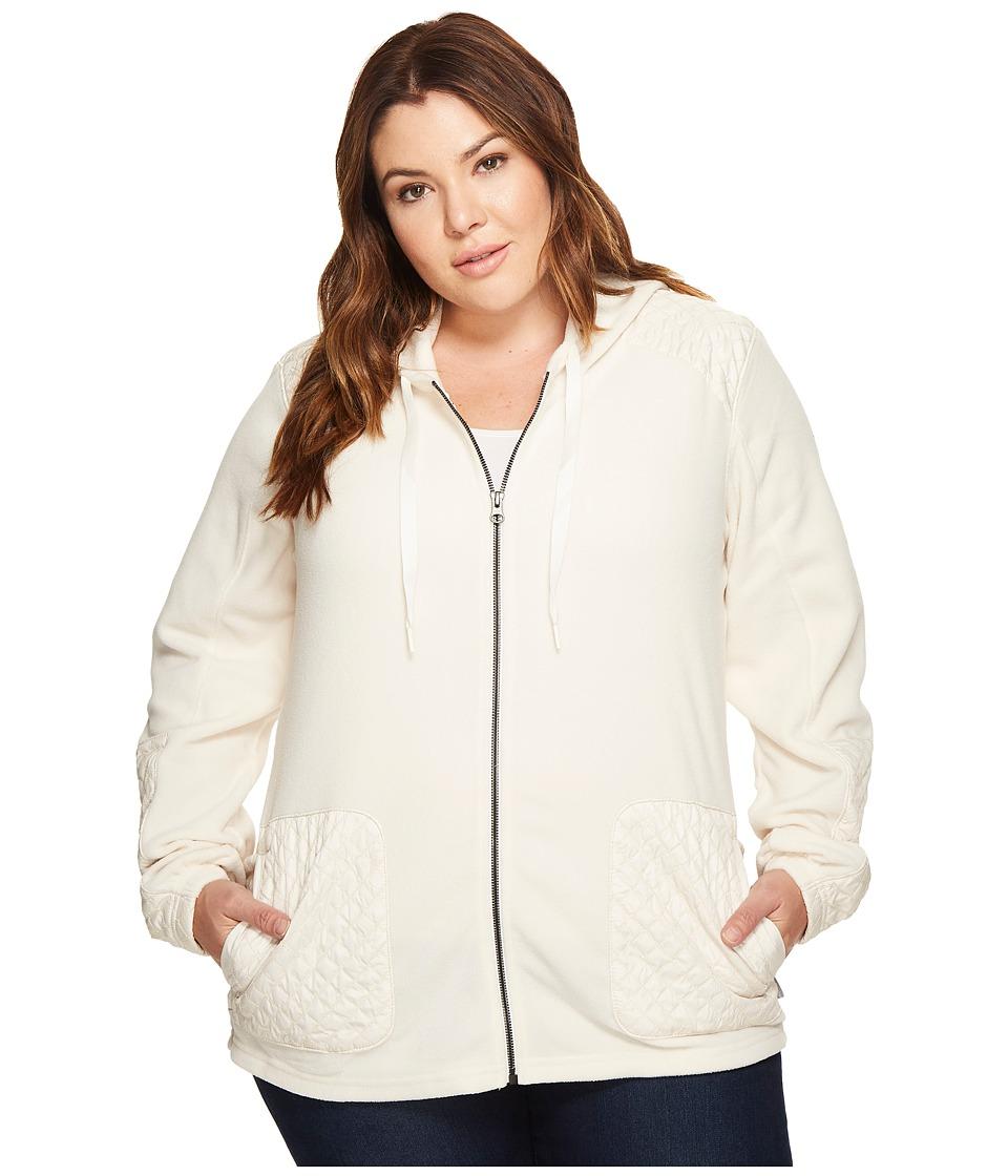 Columbia Plus Size Warm Up Hooded Fleece Full Zip (Chalk) Women
