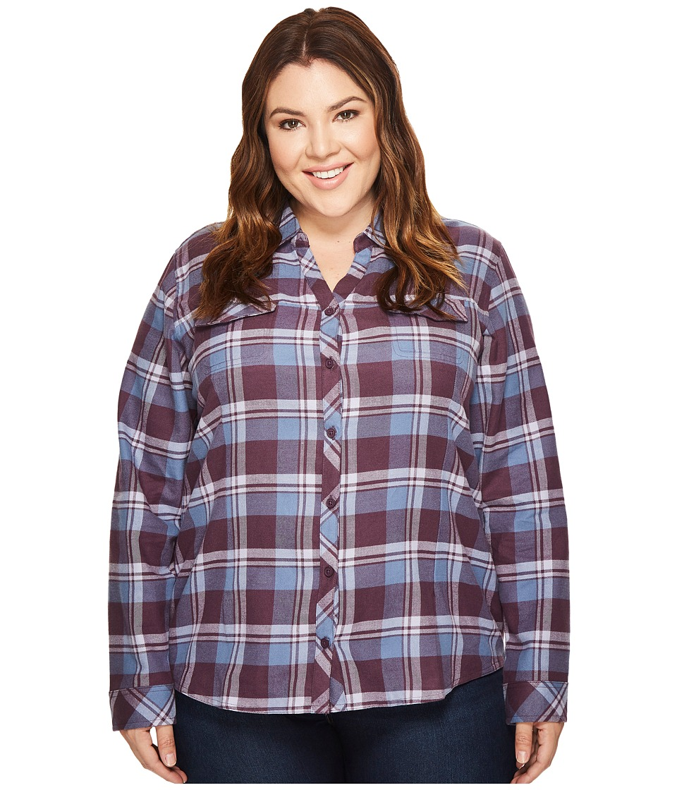 Columbia - Plus Size Simply Puttm II Flannel Shirt (Dusty Purple Open Ground Plaid) Womens Long Sleeve Button Up
