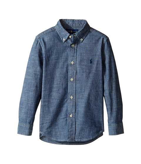 Kids' short-sleeve chambray shirt Item G size & fit. Slim fit. Product Details. When in doubt, put him in a chambray shirt—a men's style trick we think works just as well for the little guys. Cotton. Button-down collar. Chest pocket. Machine wash. Import. Online only. Item G SHARE.