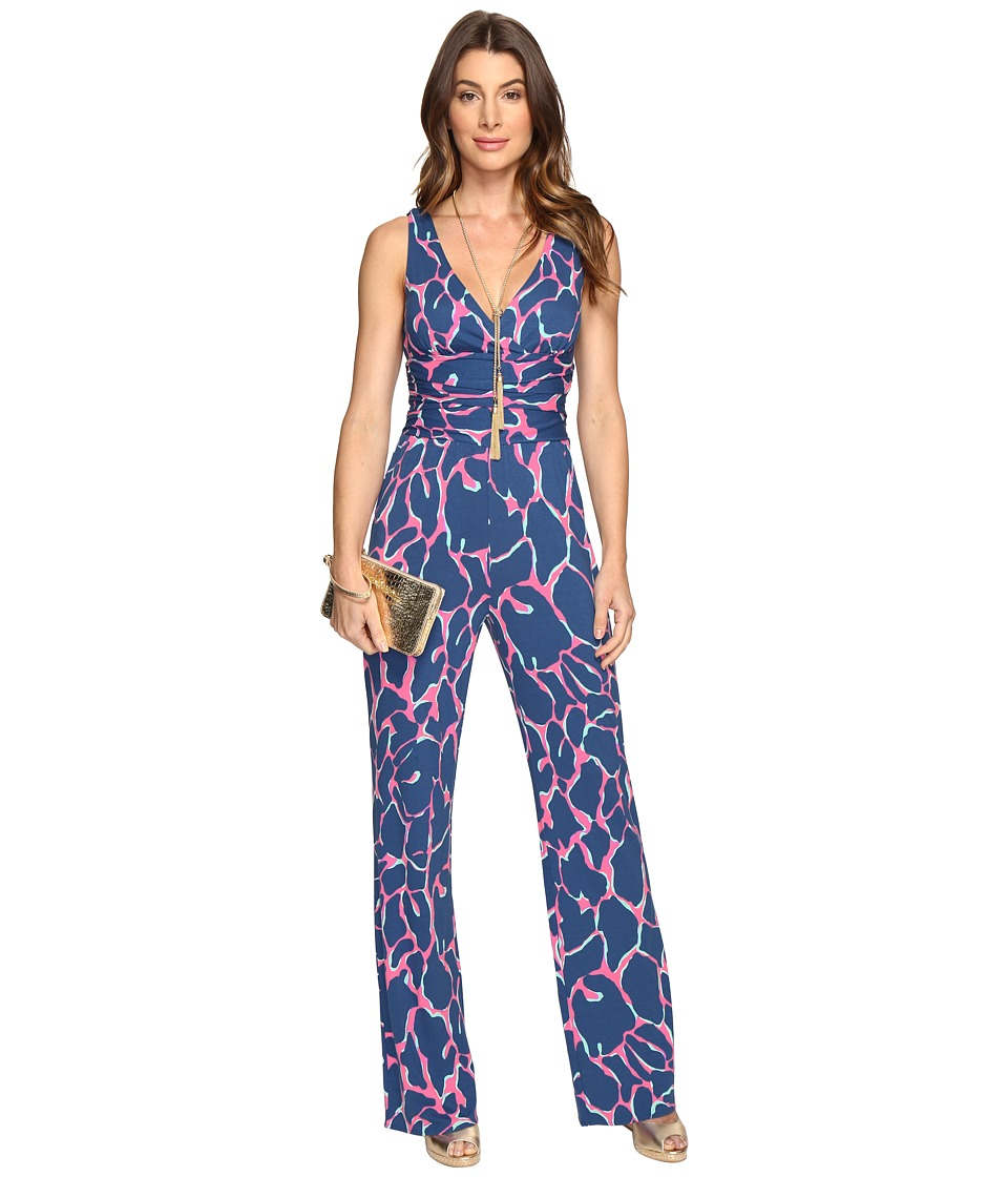 Vintage High Waisted Trousers, Sailor Pants, Jeans Lilly Pulitzer - Sloane Jumpsuit Tiki Pink Broken Shaker Womens Jumpsuit  Rompers One Piece $178.00 AT vintagedancer.com