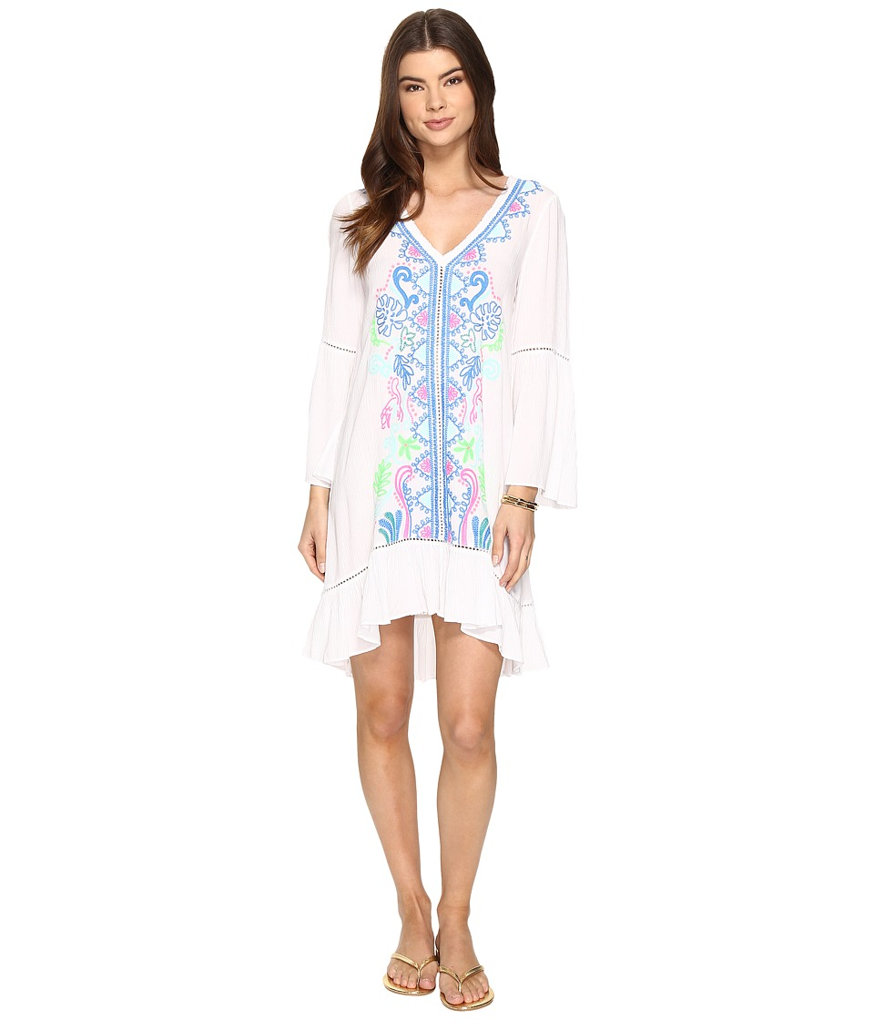 Lilly Pulitzer Tavvy Cover-Up (Resort White Travelers Palm Embroidery) Women