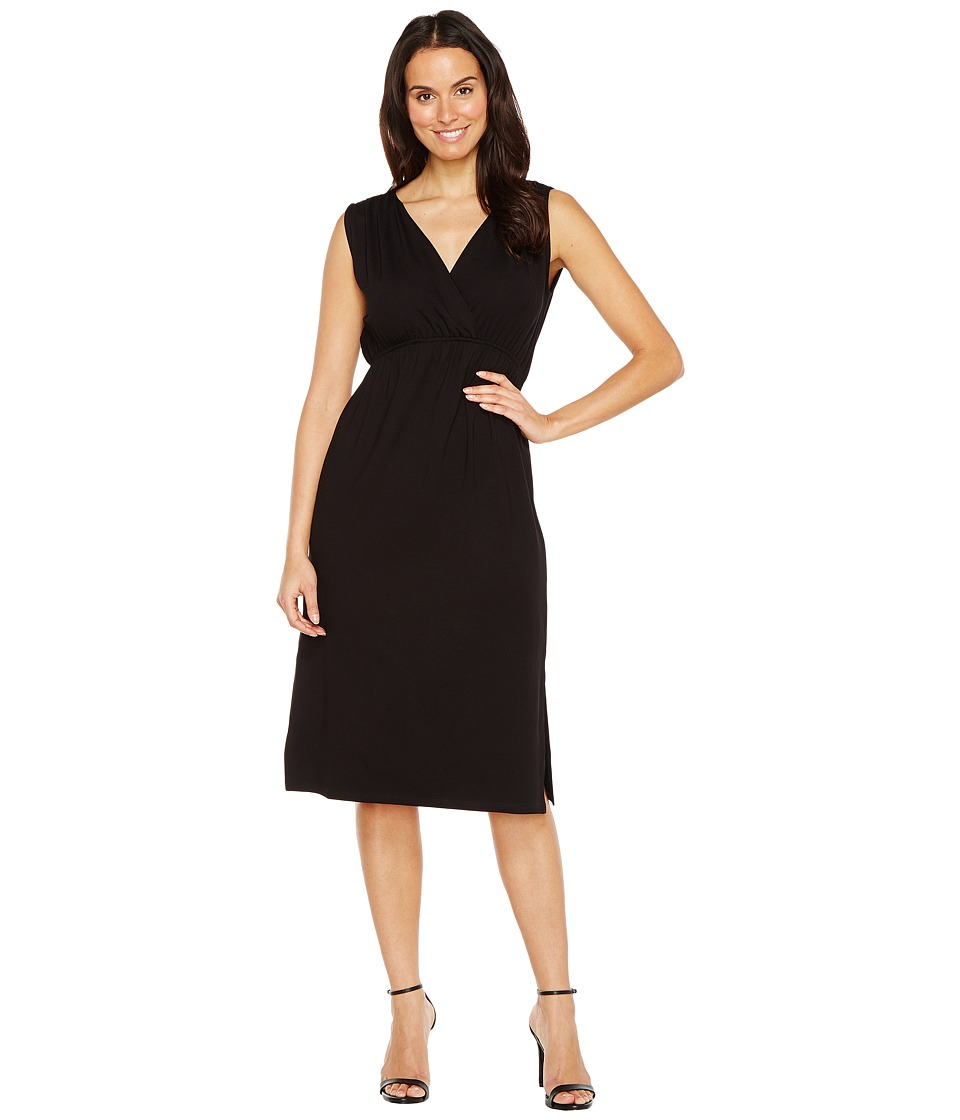 Lilla P Shirred Shoulder Midi Dress (Black) Women