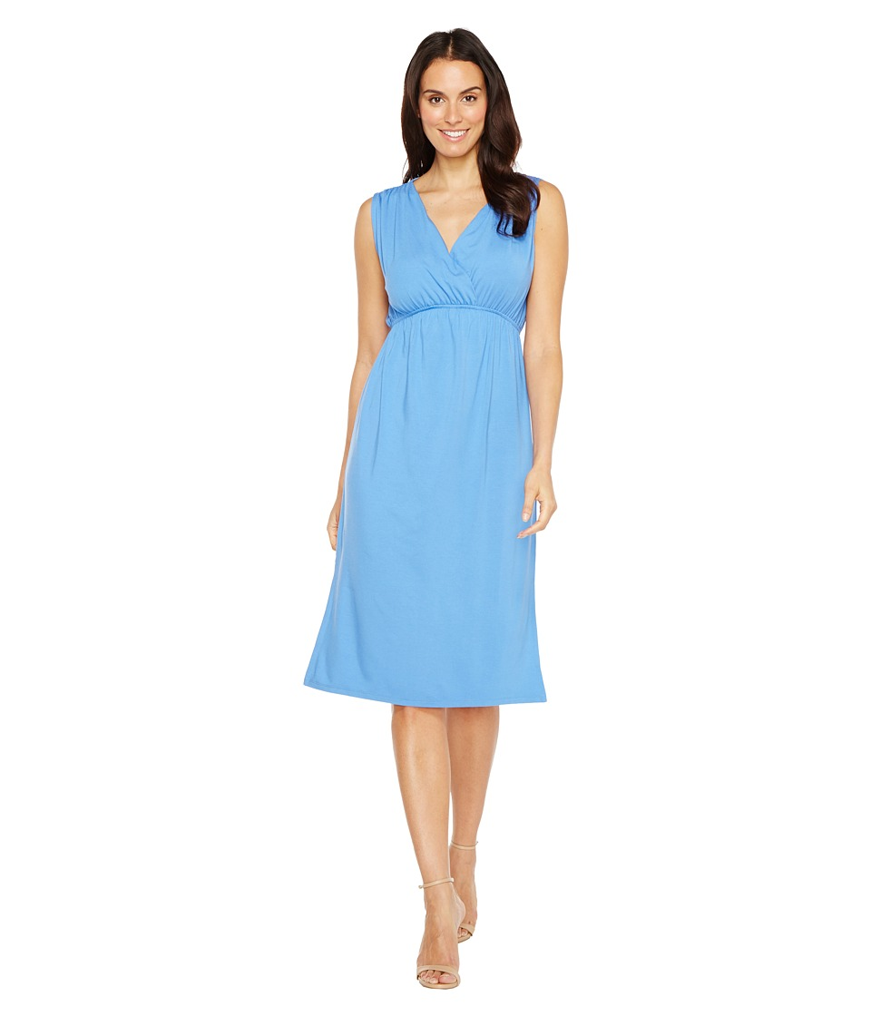 Lilla P Shirred Shoulder Midi Dress (Periwinkle) Women