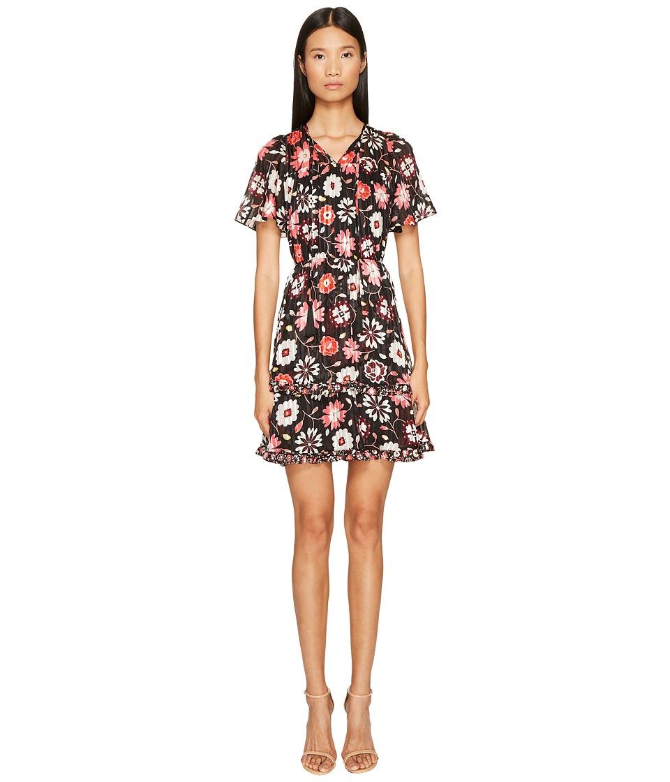 Kate Spade New York Casa Flora Flutter Sleeve Dress (Black) Women