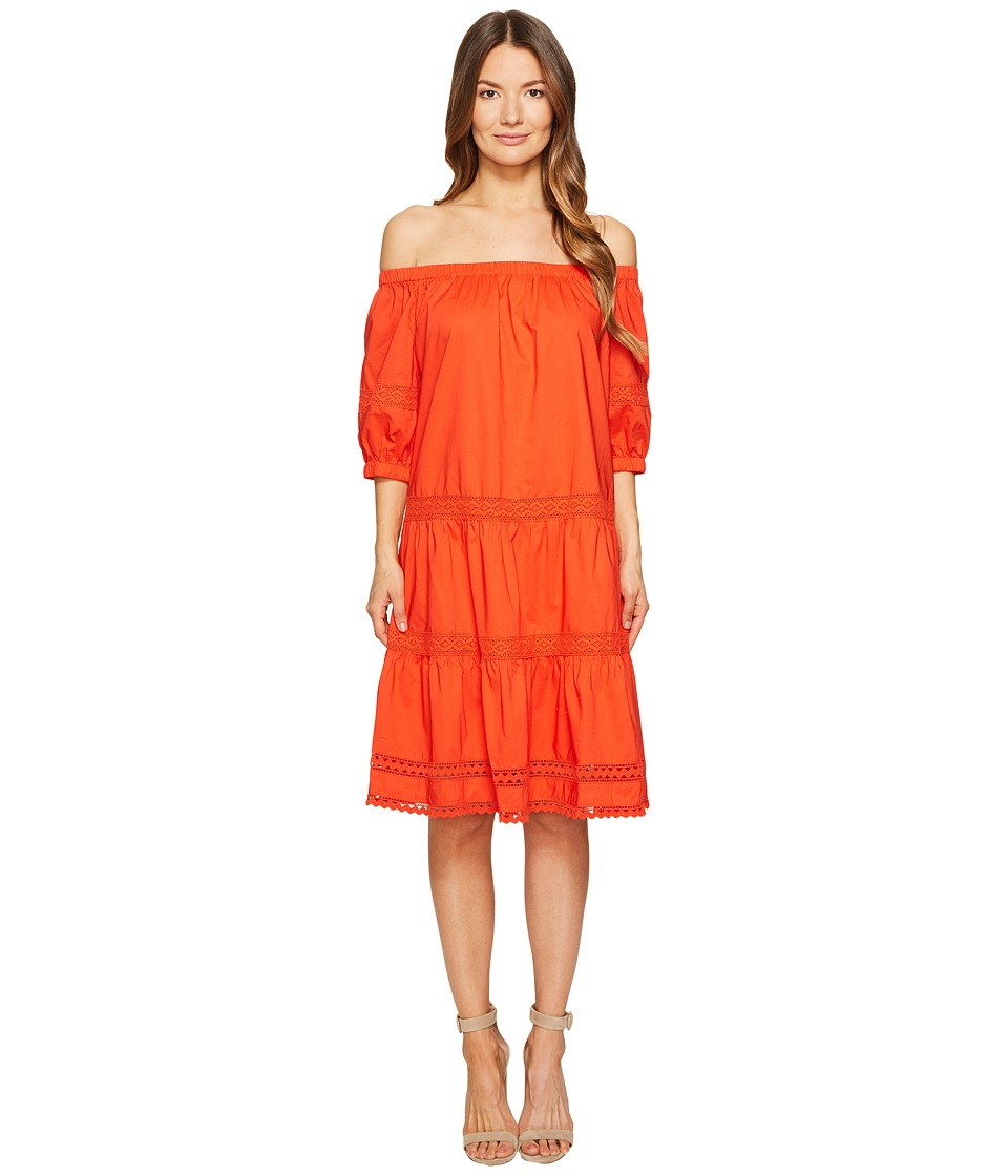 Kate Spade New York Poplin Off the Shoulder Dress (Cherry Pepper) Women