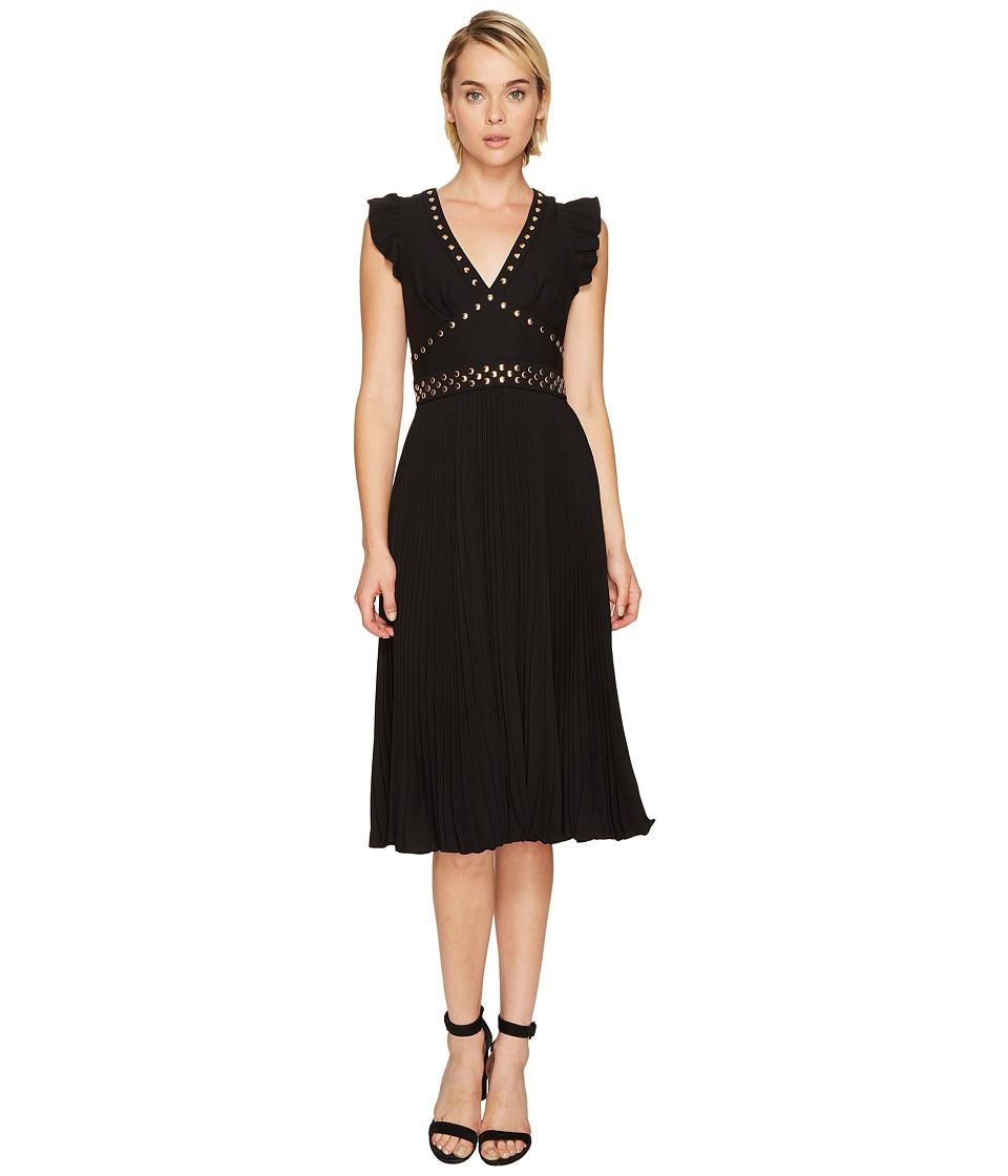 Kate Spade New York Pleated Stud Crepe Dress (Black) Women