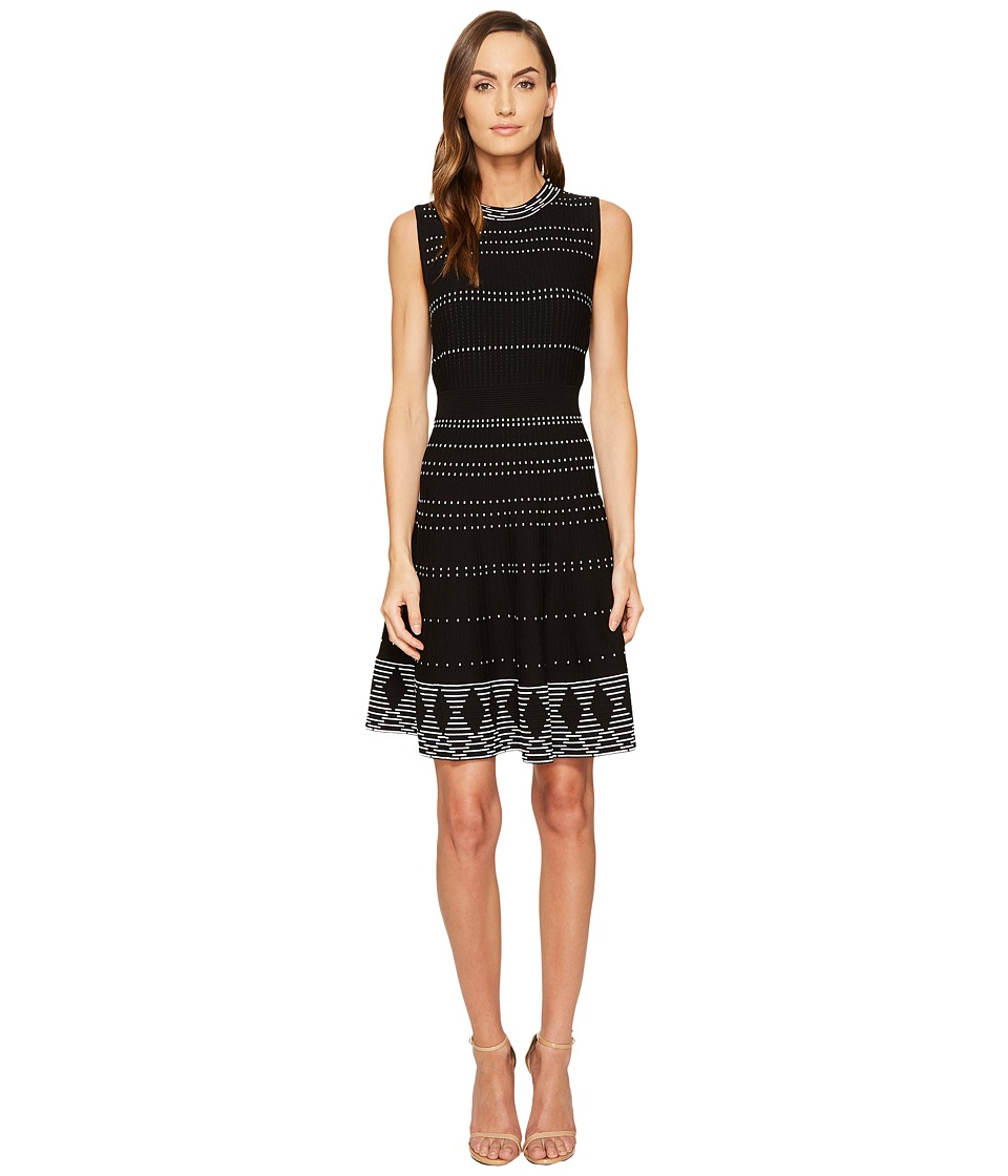 Kate Spade New York Textured Knit Fit and Flare Dress (Black/Cream) Women