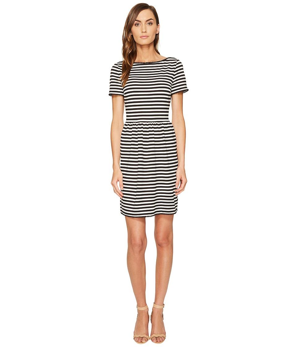 Kate Spade New York Stripe Ponte Dress (Off-White/Black) Women