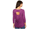 Space Dye Rayon Spandex Jersey Drape-Back 3/4 Sleeve Tee
