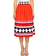 Kate Spade New York - Geo Border Poplin Skirt