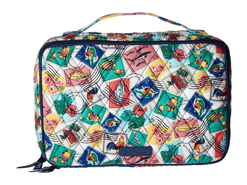 Vera Bradley Luggage Large Blush Brush Makeup Case (Cuban Stamps) Cosmetic Case