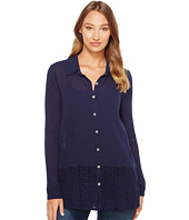 Mod-o-doc - Gauze Button Front Shirt with Lace Trim